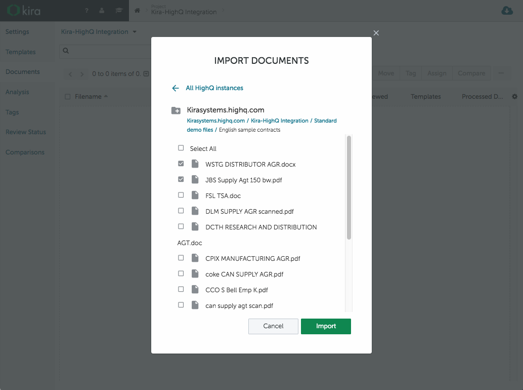 HighQ Integration - Importing Documents from HighQ