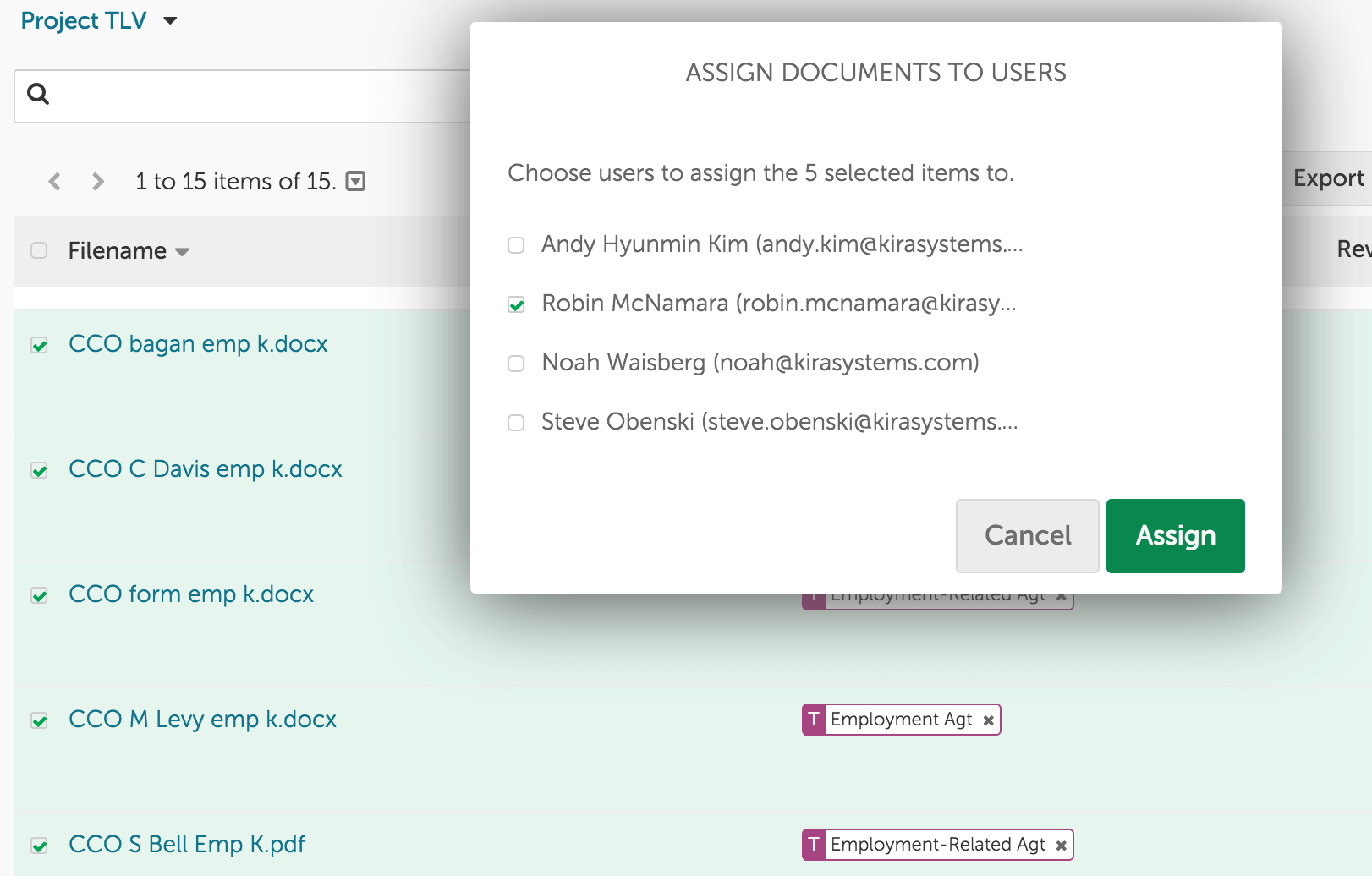 Assignment documents and folders in Kira